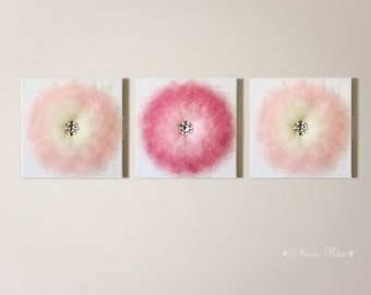 Nursery Wall Decor, Nursery Decor, Flower Wall Art, Flower Wall Decor, Shabby Nursery, Flower Wall Hangings, Nursery Art Set, Set of Three