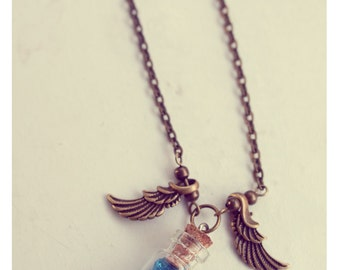 Cute bottle necklace, Angel Wings necklace,  glitter stars necklace, glass vial pendant, potion vial necklace, inspirational gift for women