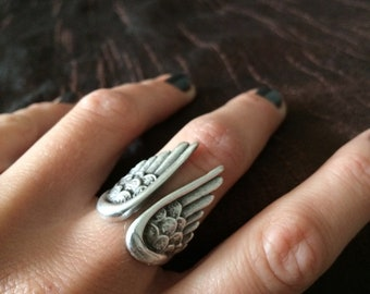 wings ring, silver plated, adjustable ring, angel wings, feathers, swan