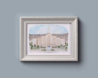 Albuquerque LDS Temple Watercolor Print