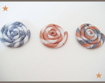 3 fimo polymer clay spiral beads