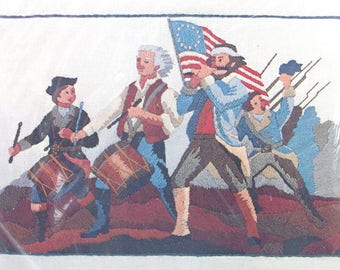 Vintage Crewel Embroidery Stitchery Kit . The Minute Men . Spirit of 76 - America . Bicentennial Collection . Paragon Needlecraft Kit .