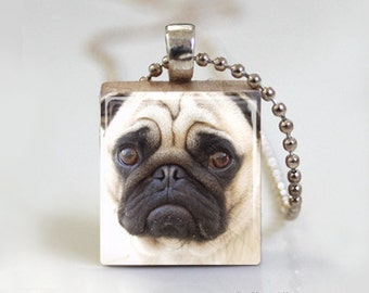 Pug Pendant Necklace. Cute Pug Puppy Dog. Scrabble Tile Pendant. Scrabble Tile Jewelry - Free Ball Chain Necklace or Key Ring