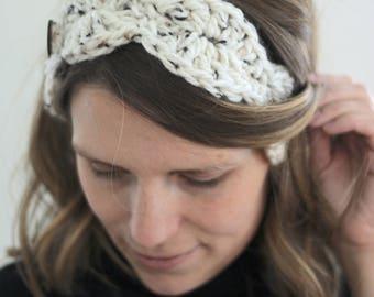 Chunky Crochet Shell Headband Button Closure One Size Teen Women Knit Fall Autumn Winter Fashion Accessory Washable