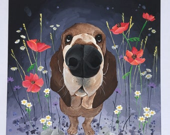 Basset hound in flowers, acrylic painting