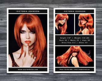 """Model Comp Card Template for Photoshop 002 - 5.5"""" x 8.5"""" - Modeling Comp Card - Composite Card - Zed Card - Sed Card - Z Card - Photography"""