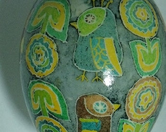 Pysanky Dyed Mod Owls & Flowers on Duck Egg