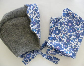 Lavender LIBERTY Betsy bonnet set with quilted snood 12-18 months 2/3/4 years