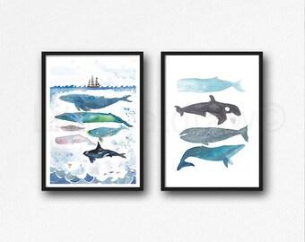 Whale baleine impression pile et baleines sous la peinture aquarelle mer imprimer lot de 2 décoration aquarelle impression Home Decor murale Art Beach