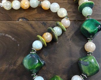 Necklace set, Kazuri Beads Necklace, Green Necklace, Sterling Silver Necklace, Agate Necklace, Disc Beads Necklace, Gift for Her