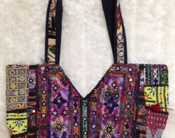 Handcrafted vintage Gujarati fabric tote bag/afghani/tribal/handmade/hippie/boho/purple/pink/yellow/green