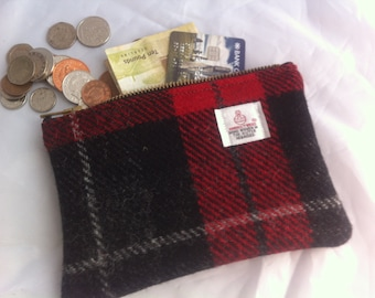 Harris tweed purse, coin purse, tweed pouch, charger case