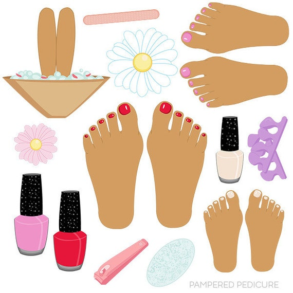 pampered pedicure v2 cute digital clipart commercial use ok rh etsy com pedicure clipart free pedicure images clipart