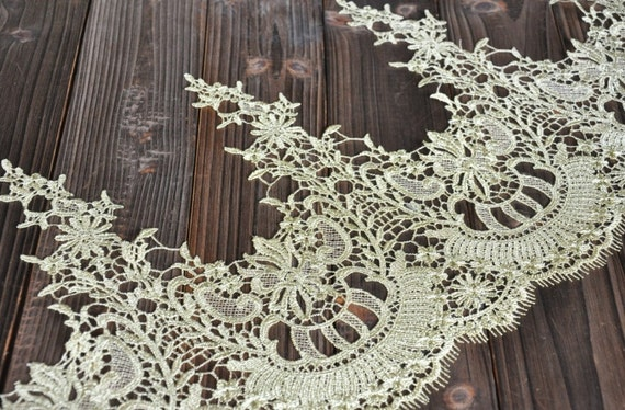 Dark Gold Lace Trim Gorgeous Baroque Embroidered Lace Trim Antique  Scalloped Lace 10.23