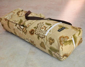 Yoga mat bag, beautiful yoga tote bag, tan and brown yoga bag with zipper, yoga mat carrier, zippered yoga tote with pockets, one of a kind
