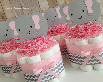 SET OF FOUR Elephant Pink And Gray Chevron Mini Diaper Cake, Baby Shower Centerpieces, Pink Grey Chevron Elephant Decor