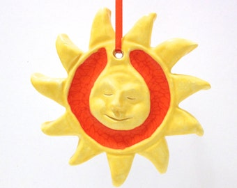 Sun Ornament, Hand-built Sun Sculpture, Ceramics and Recycled Orange Glass