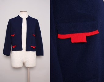 60s Nautical Cardigan / Vintage 1960s Navy Blue & Red Mod Jacket / Large