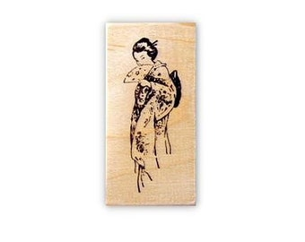 Coy GEISHA Mounted rubber stamp, Japanese lady, entertainer, performing artist, geiko, artisan, woman, Sweet Grass Stamps No.12