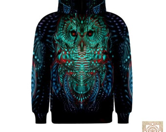 Ascension  , Owl hooded top , Sacred geometry ,Visionary Hoodie , nature , rave  , bird , dance clothes , Psy ,Festival flower of life,love