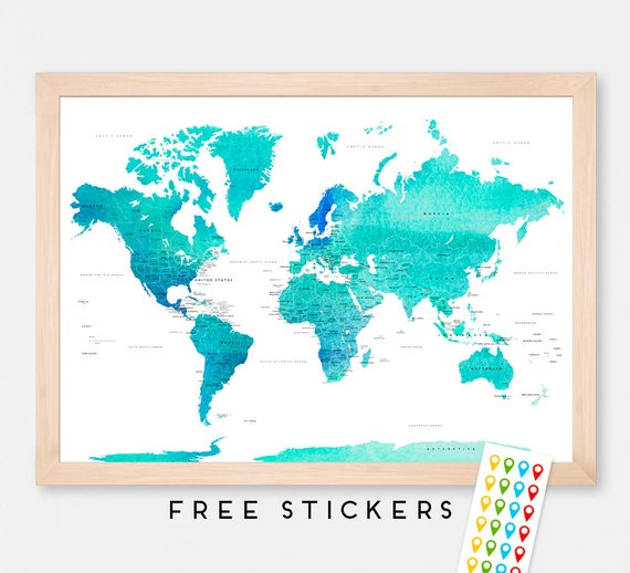 World map art print poster countries names watercolor travel like this item gumiabroncs Images