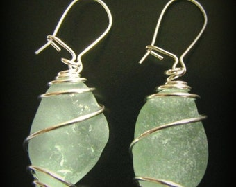 Seafoam Green Sea Glass Earrings - Wire Wrapped - Sterling Silver Lever Earwires, Seaglass Jewelry