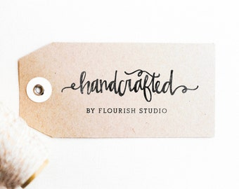 Handcrafted Stamp -  Personalized Made By Stamp, Business Stamp, Created By Stamp, Made with Love Stamp, Calligraphy (Style 6)