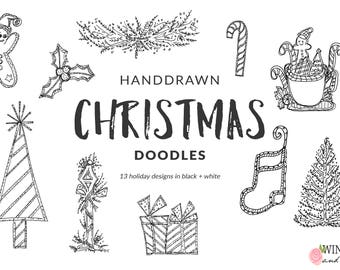 Christmas North Pole Clip Art - Hand Drawn Christmas Doodle Overlays Set