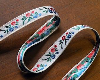Vintage Ribbon Trim Tiny Blue and Orange Embroidered 2 yards