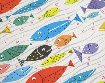 "Vintage Norcross ""In the Swim!"" All-Occasion BIRTHDAY Gift Wrap - Wrapping Paper -  Mid-Century FISH - 1950s 1960s"