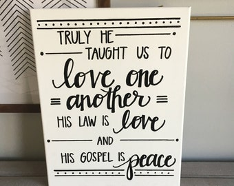 Truly He Taught Us--O Holy Night Song Lyrics Canvas, Christmas Sign art