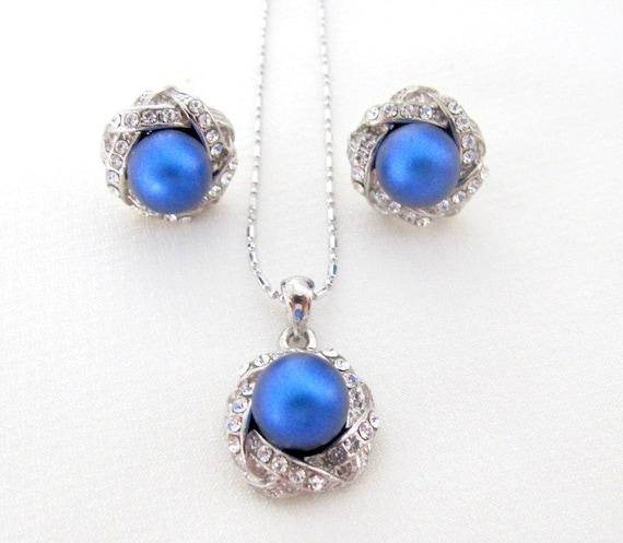 Dark Blue Pearl Pendant Earrings Set Wedding Pearl pendant earrings set, Filigree Silver Navy Blue,Royal Blue Jewelry,Free shipping USA