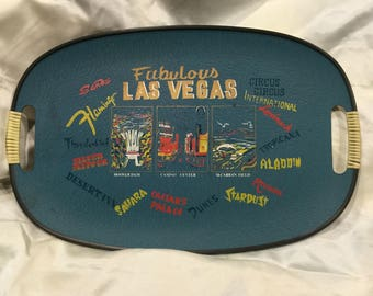 Vtg Fabulous Las Vegas Particle Board Tray Made in Japan