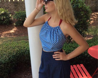 Reproduction halter top made from original 1930's pattern