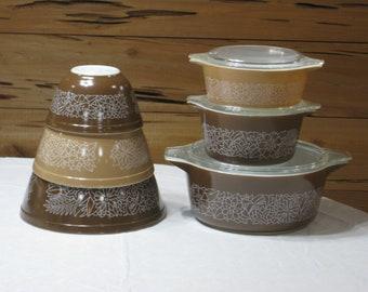 Vintage Pyrex Woodland 9 Pc. Set Nesting Mixing Bowls & Casseroles