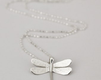 DRAGONFLY - dragonfly pendant in sterling silver - handmade