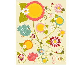 Children's Wall Art / Nursery Decor Grow print by Finny and Zook