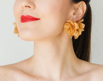 Statement Jewelry Statement Earrings Floral Earrings Boho Earrings Red Earrings Gold Earrings/ CICCIA
