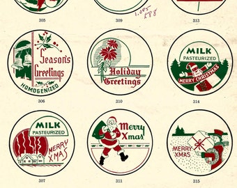 Vintage retro Art Deco Christmas holiday new year milk cap collage digital download printable instant image