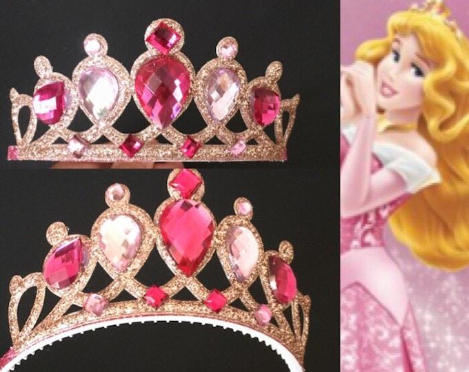 Aurora Crown,Aurora Headband,Sleeping Beauty,Aurora costume,Disney Aurora,disney princess crown,sleeping beauty,Aurora elastic headband,pink