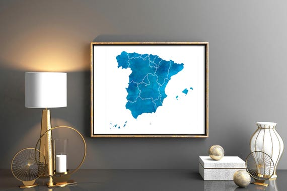 Spain watercolor Map Spain provinces map Large Spain map