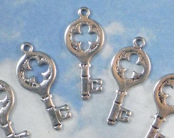 10 Small Keys Charms Silver Tone 26mm Skeleton Key thin for Wedding Invitations Cards (P1330)