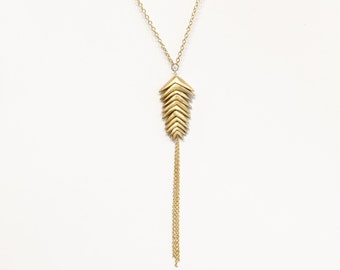 Gold + Bronze Mountain Brome Necklace | 11 Spikelets