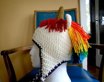 Unicorn Hat / Unicorn Toque / Rainbow Unicorn Hat / Crocheted Unicorn Hat by Wychbury Ave