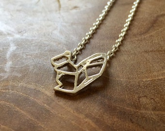 Geometric Squirrel 2 - a cute necklace with a little geometric squirrel. Silvertone, cute, origami, lines, modern, hip, trend, woods, animal