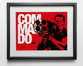 Graphic Movie Poster: Commando with Arnold Schwarzenegger, perfect Birthday or Christmas gift - Arnie Action Print
