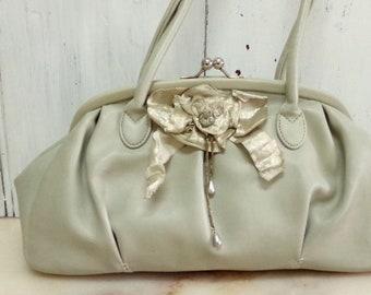 SALE Upcycled Oyster beige bow handbag