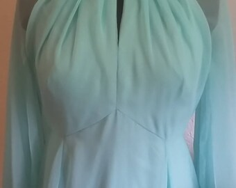 Vintage Aqua 1960's Formal Ball Gown size 2P