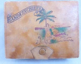 Vintage Mid Century  Souvenir Handkerchief Box  from Honolulu