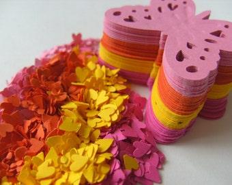 120, TROPICAL mix, pink, orange, yellow, Butterflies, butterfly, paper, tuttifrutti, by DoodleDee2 on etsy